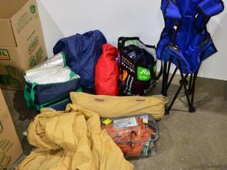 large Box of Camping Items   Chair  Tarps
