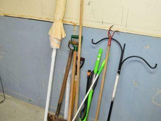 Grp  of Garden Tools  Umbrella  etc