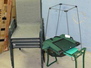 Grp  of Patio Chairs  Umbrella Base