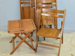 4  Wooden Folding Chairs and Folding Table