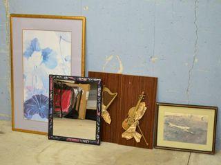 Grp  of Framed Prints  Mirror  Decor