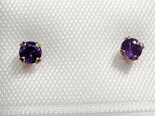 14K Yellow Gold Amethyst Earrings  EC25 47