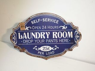 Metal laundry Room Sign 20  x13