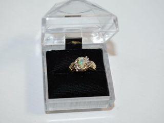 10K Opal   Diamond Ring