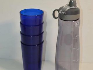 Pogo Water Bottle and  4  Acrylic Glasses