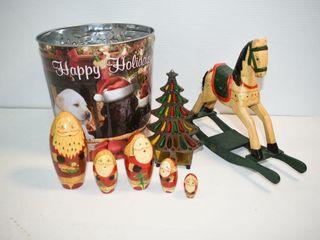 Christmas Nesting Dolls  Rocking Horse  Bucket