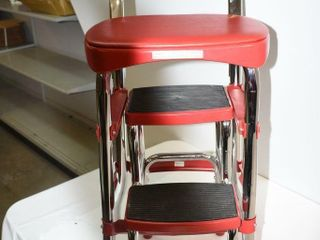 Cosco Red Retro Counter Chair Slide Side Step
