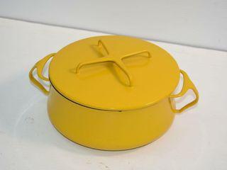 Dansk France Yellow Enamel lidded Pot 8 5  wide