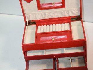 Red Travel Jewelry Chest 11  wide