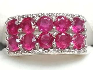 Silver Ruby Ring  Size 7   weight 4 2g