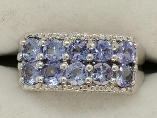 Silver Tanzanite 2 5ct  Ring  weight 5 3g