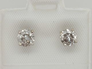 14K White Gold Diamonds 1 05ct  Earrings
