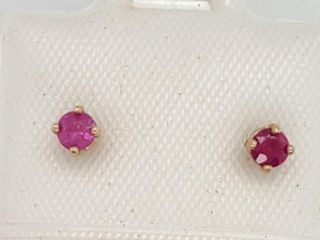 14K Yellow Gold Ruby 0 52ct  Earrings