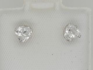 10K White Gold Cubic Zirconia Heart Shaped