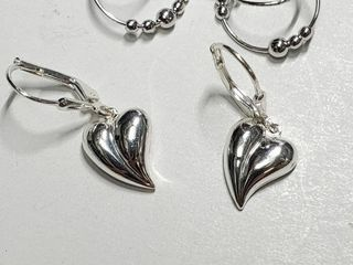 Silver Two Earrings Set