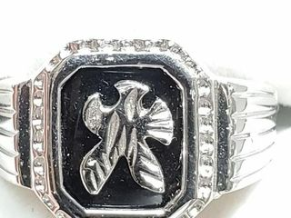 Silver Onyx Ring  Size 9   weight 7 34g