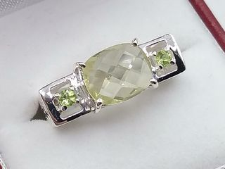 Sterling Silver 10x8mm genuine lemon Quartz Ring