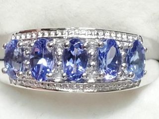 Silver Tanzanite 1 5ct  Cubic Zirconia Ring