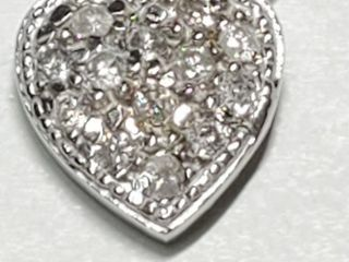 Silver Cubic Zirconia Heart Shaped Pendant