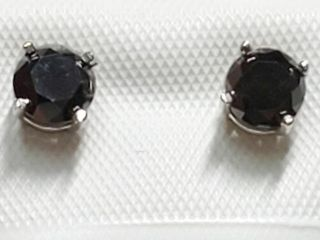14K White Gold Black Diamond 1 03Ct  Earrings