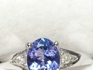 10K White Gold Tanzanite 1 2ct  Diamond 0 05Ct