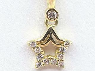 10kt  Yellow Gold CZ  Star  Pendant with Sterling