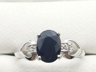 10K White Gold Sapphire 1ct  Diamond 0 04ct