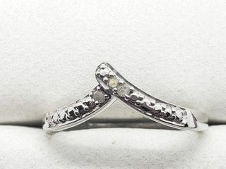 Silver Diamond 0 03ct  Ring  Size 6 5