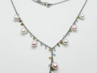 Silver Peral 16 18  12G Necklace