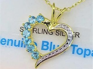 Sterling Silver Yellow Gold plated genuine Blue
