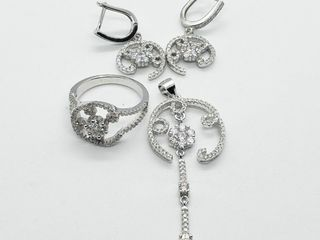Silver Ring Earring And Pendent Cz Set