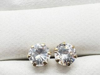 10K Yellow Gold Cz 6Mm Earrings