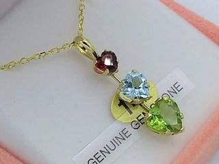 14kt  Yellow Gold genuine Peridot  Aquamarine