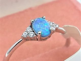 Sterling Silver 6x4mm Synthetic Opal   CZ Ring