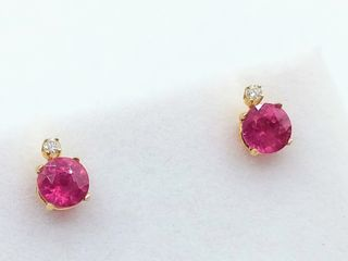 14kt  Yellow Gold 4mm genuine Ruby  0 86cts
