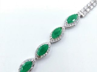Sterling Silver 7 5x4mm genuine Emerald  2cts