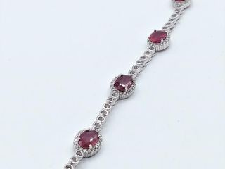 Sterling Silver 7 5x5 5mm genuine Ruby  3 35cts