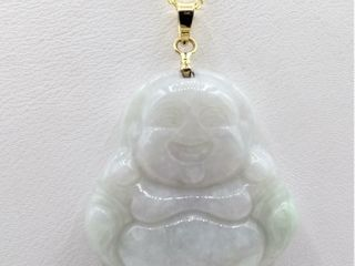 14kt  Yellow Gold genuine Jade  Smiling Buddha
