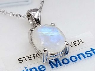 Sterling Silver 10x8mm genuine Moonstone Pendant