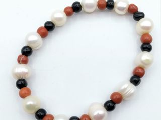 Genuine Freshwater Pearl  Red Jasper   Black