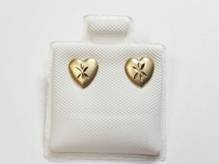 14K Yellow Gold Heart Shape Earrings
