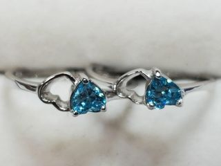 Silver lot Of 2 Blue Topaz Ring  Size 6