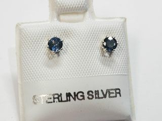 Silver Sapphire 0 4ct  Earrings