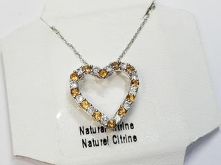 Silver Natural Citrine 20  Necklace