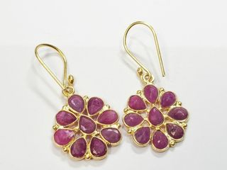 Silver Genuine Ruby Earrings