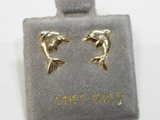 14K Yellow Gold Dolphin Screwback Earrings