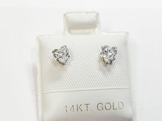 14K White Gold Cz Heart Shape Earrings