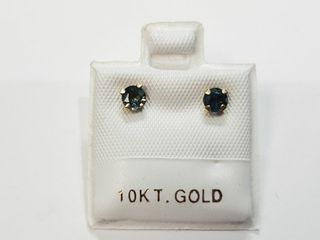 10K Yellow Gold Sapphire 0 67ct  Earrings