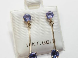 10K Yellow Gold Tanzanite 1ct  Earrings