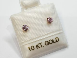 10K Yellow Gold Pink Cz Earrings